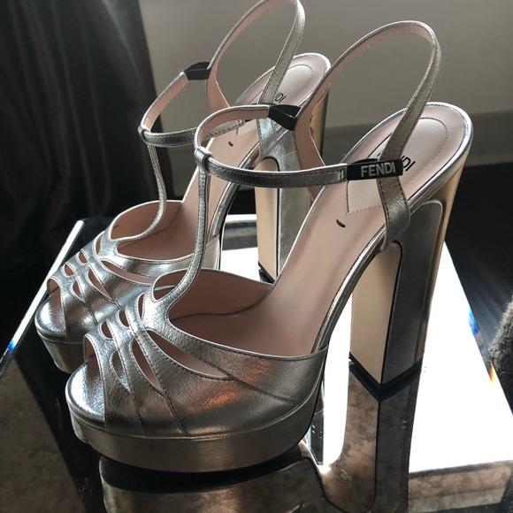 Fendi Twotone Silvergold Chunky Heel